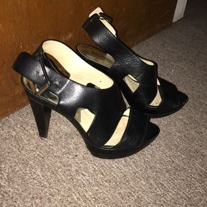 Black leather Michael Kors heels